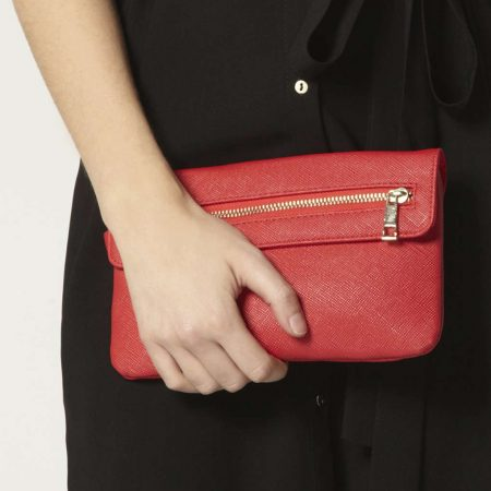 Red foldover wristlet with a zip detail. FREE POSTAGE!!