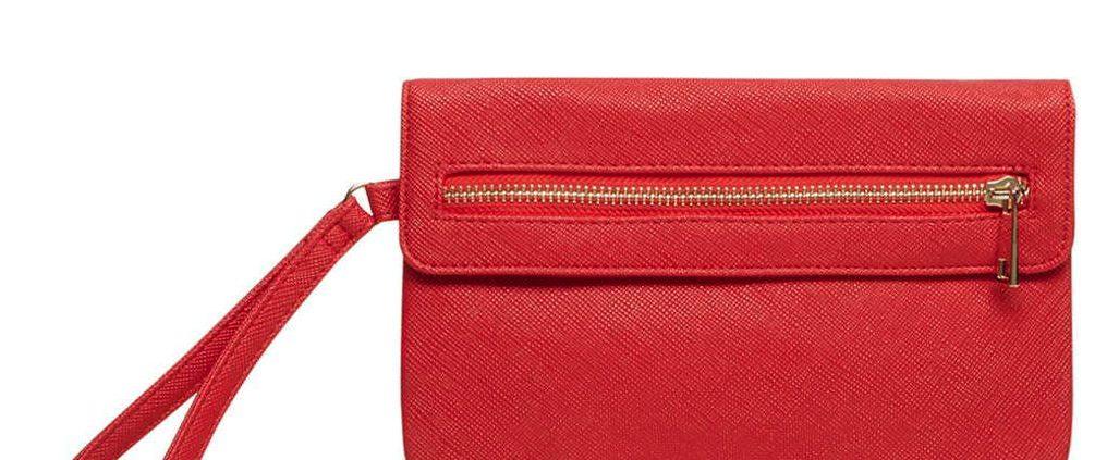 Red Foldover Wristlet Bag