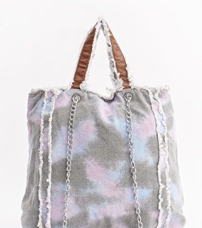 Wash Out Purple Denim Frayed Trim Bag