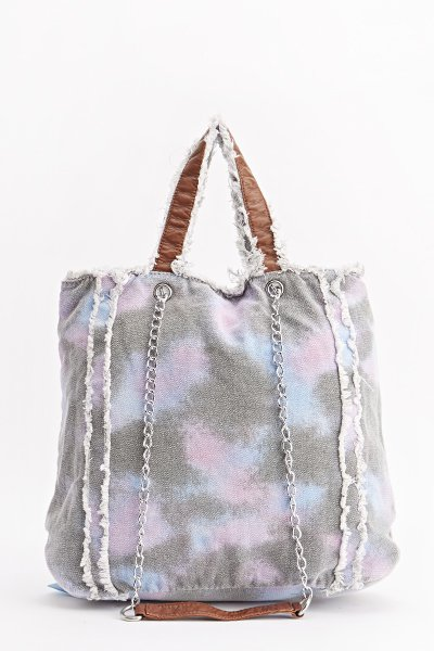 Wash Out Purple Denim Frayed Trim Bag