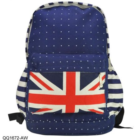 Ladies Union Jack Canvas Rucksack Backpack Travel School College Work Bags2
