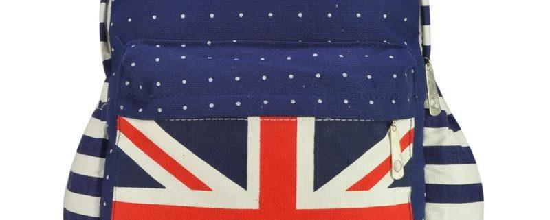 Ladies Union Jack Canvas Rucksack Backpack Travel School College Work Bags2