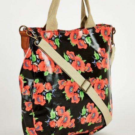 Black Floral Print Large Cross-Body Bag