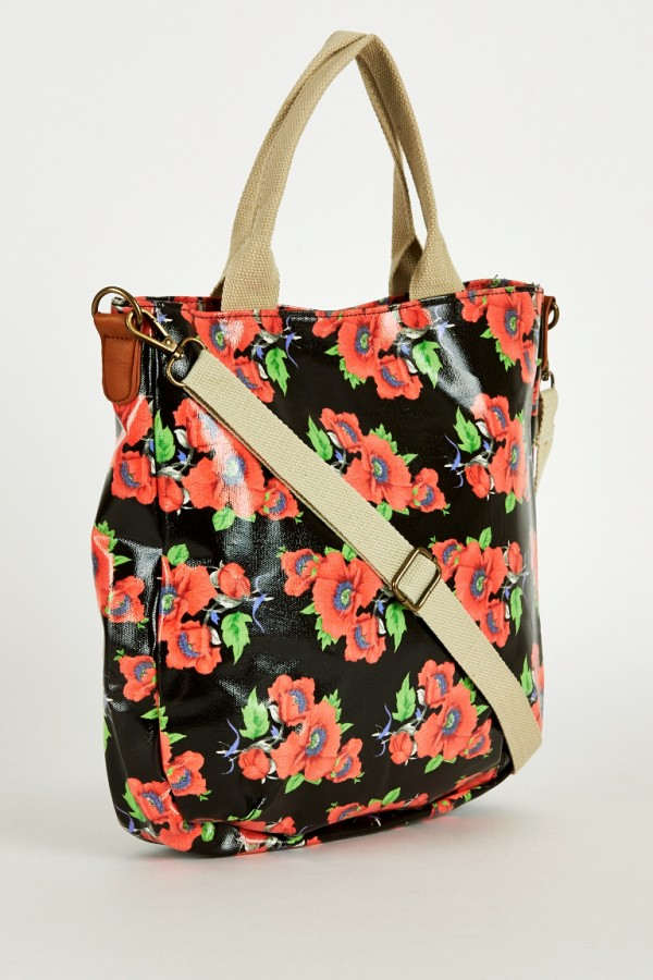 Black Floral Print Large Cross-Body Bag