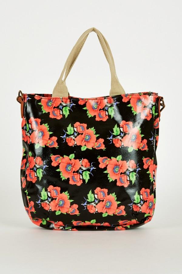 Black Floral Print Large Cross-Body Bag | Ladies Handbags UK U2013 Satchels Messenger And Cross ...