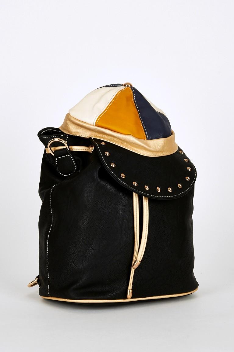 Hat Shaped Flap Leatherette Backpack Bucket Bag In Black