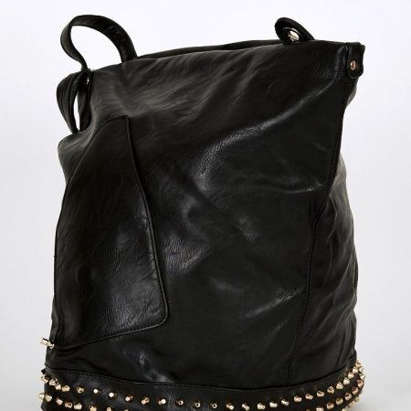 Black-Studded Side Clasp Leatherette Backpack In Black