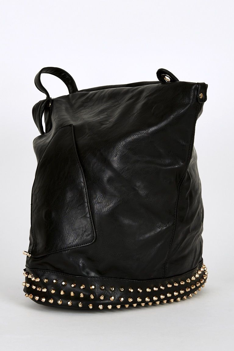 New Studded Side Clasp Leatherette Backpack In Black