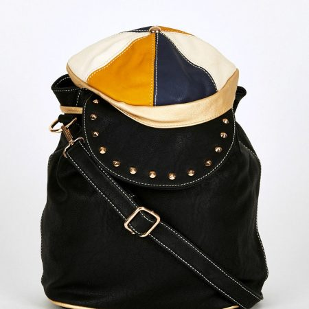 Black-Hat Shaped Flap Leatherette Backpack Bucket Bag