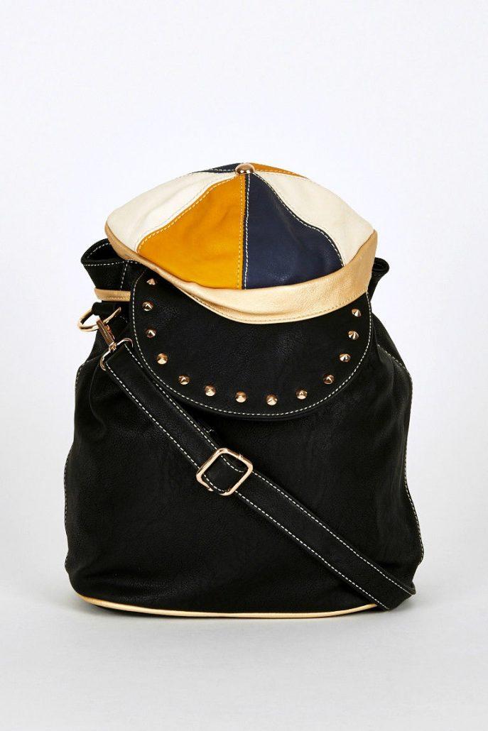 Black-Hat Shaped Flap Leatherette Backpack Bucket Bag