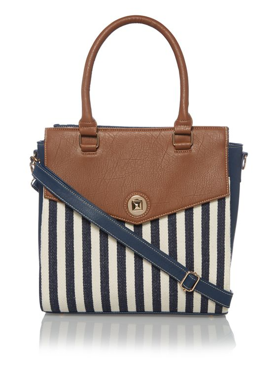 Blue Nautical Stripe Tote Bag