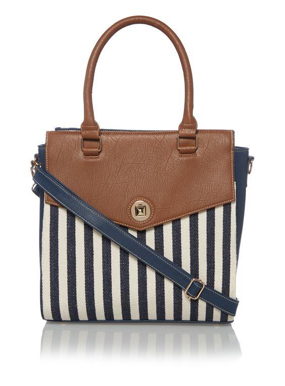 Blue Nautical Stripe Tote Bag