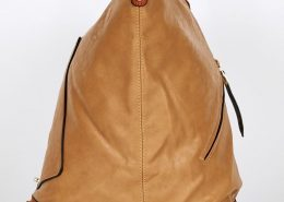 Brown-Studded Side Clasp Leatherette Backpack In Brown