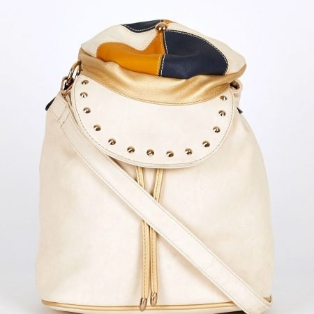 Cream-Hat Shaped Flap Leatherette Backpack Bucket Bag In Cream