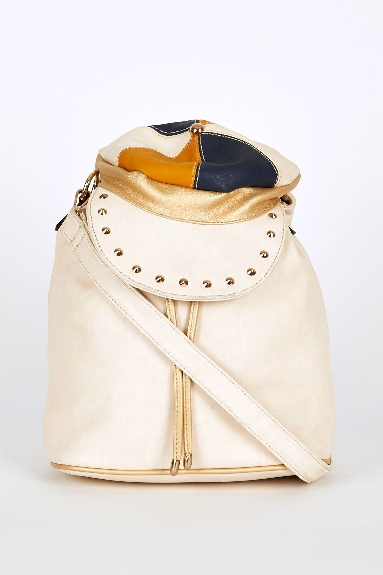 Hat Shaped Flap Leatherette Backpack Bucket Bag In Cream
