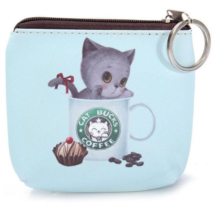 Cute Zipper Children Cartoon Bag Women Wallet Mini Change Cat Coin Purse