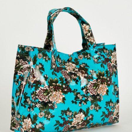 Elegant Blue Floral Print Shopper