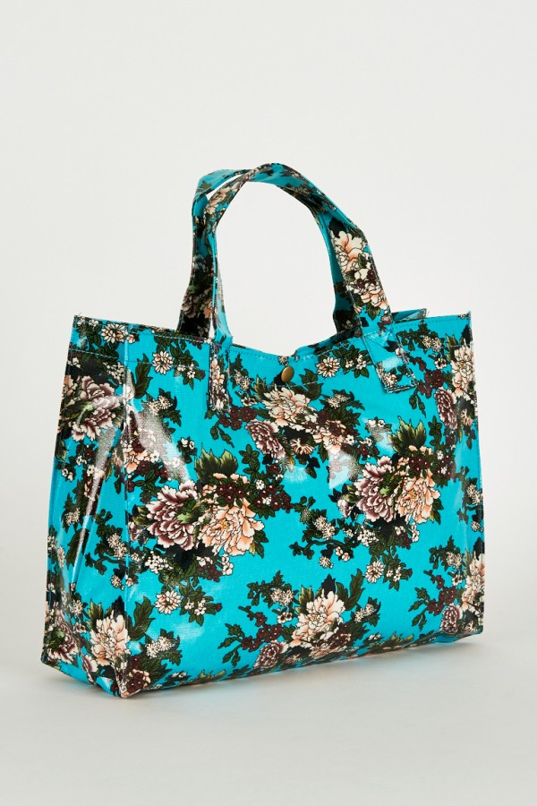 Elegant Blue Floral Print Shopper
