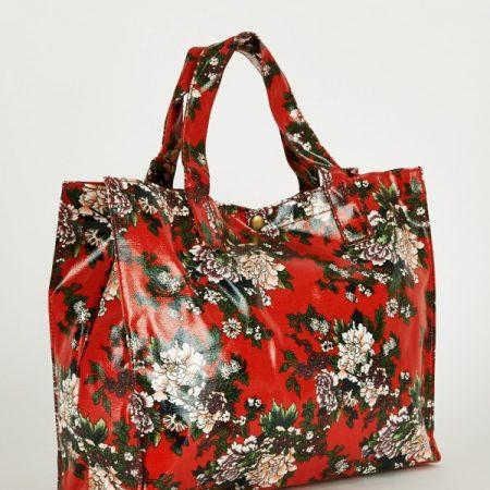Elegant Red Floral Print Shopper Bags