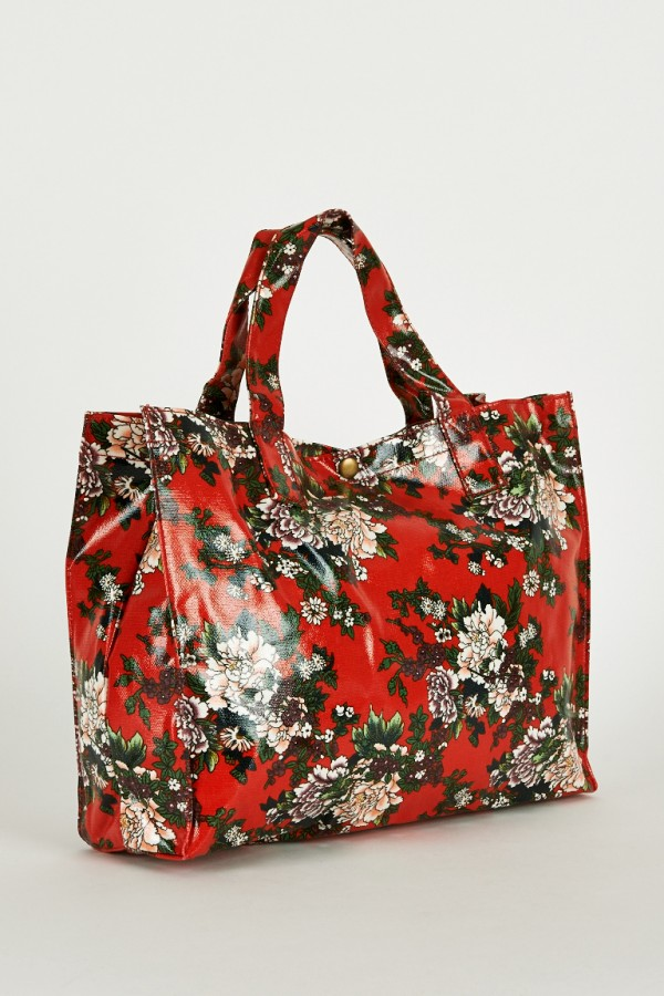Elegant Red Floral Print Shopper Bags