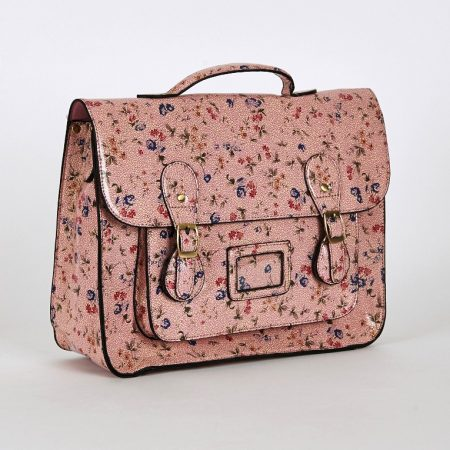 Floral Glossy Leatherette Satchel Bag