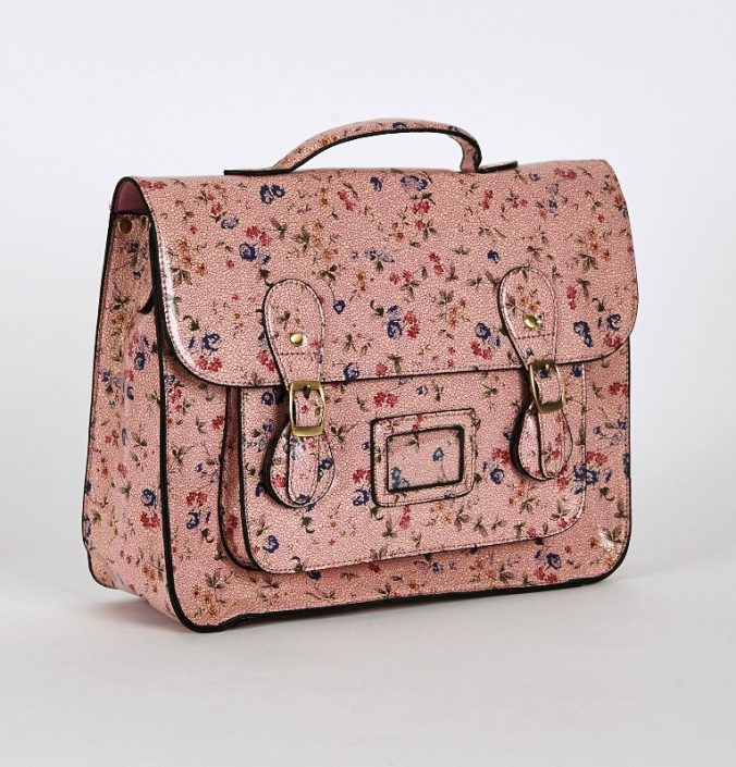 Floral Glossy Leatherette Satchel Bag