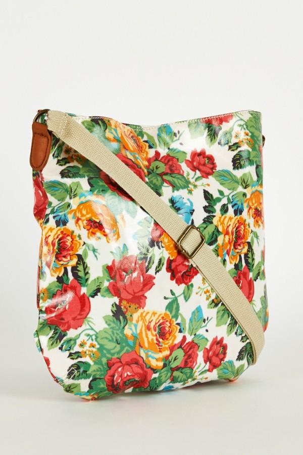 Floral Print Large Cross-Body Bag