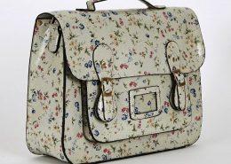 GREEN-Floral Glossy Leatherette Satchel Bag