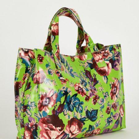 Gorgeous Green Floral Print Shopping Bag