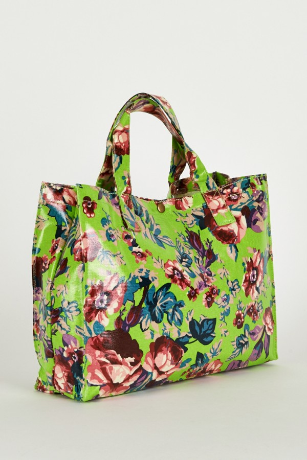 Gorgeous Green Floral Print Shopping Bag