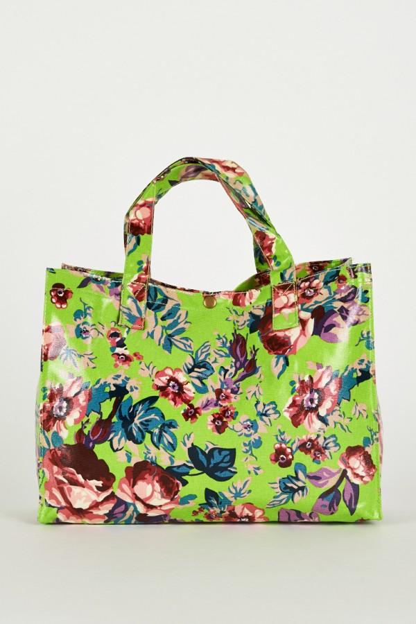 Gorgeous Green Floral Print Shopping Bag Ladies Handbags