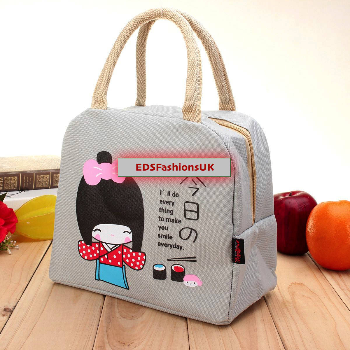 Grey Portable Thermal Lunch Bag Insulated Cooler Box