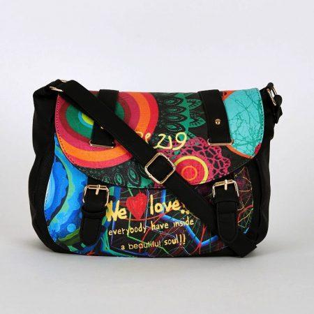 Multi-Coloured Graffiti Front Print Crossbody Bag