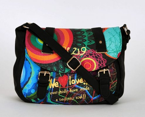 Multi-Coloured Graffiti Front Print Crossbody Bag