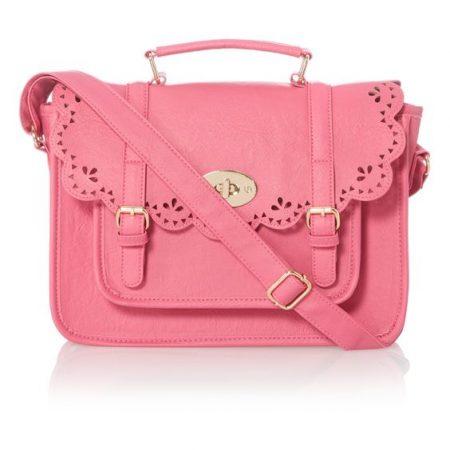 Pink Laser Cut Satchel Bag