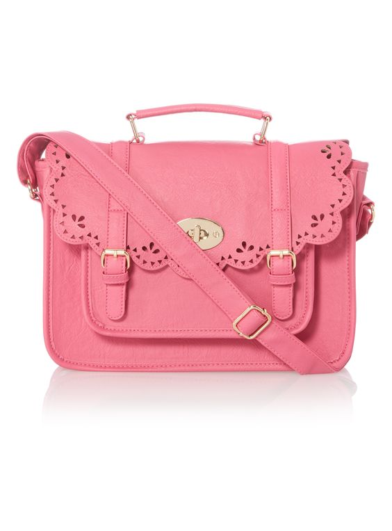 Pink Laser Cut Satchel Bag