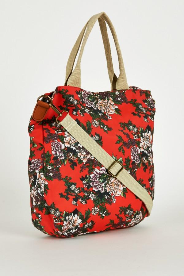 Red Floral Print Small Shopper Bags | Ladies Handbags UK U2013 Satchels Messenger And Cross-Body ...