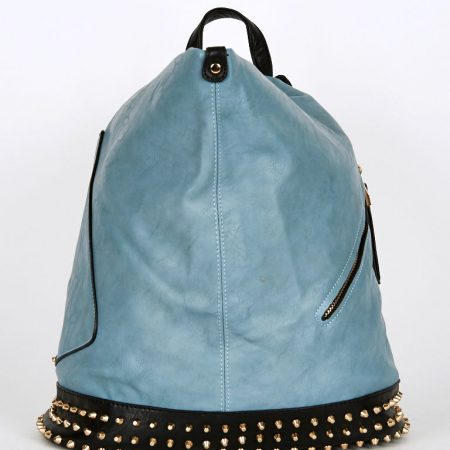 Studded Side Clasp Contrast Backpack In Light Petrol Blue