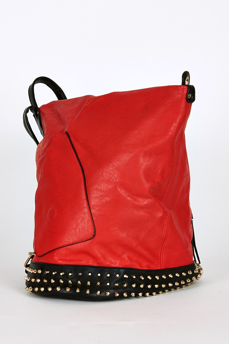 New Studded Side Clasp Leatherette Backpack In Red