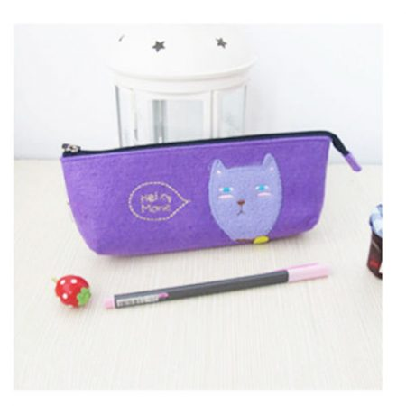 Vintage Womens Girls Cartoon Plush Pencil Case Pen Cosmetic Makeup Zipper Bags