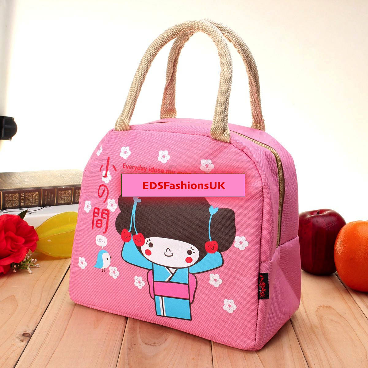 Pink Portable Thermal Lunch Bag Insulated Cooler Box