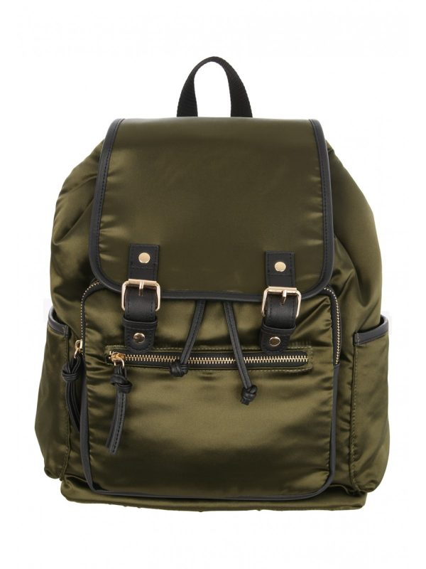 Womens Green Satin Rucksack