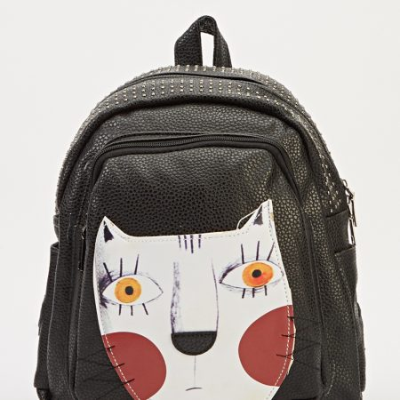 Cat Patch Studded Top Small Backpack-