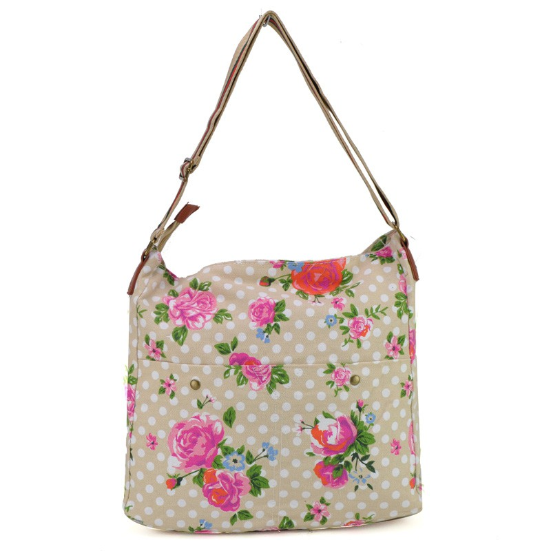 Beige - Polka Dots And Flower Print Canvas Bag Shoulder Bag - Ladies Handbags UK - Satchels ...
