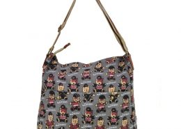 Grey - Lovely Bear Print Canvas Bag Shoulder Bag2