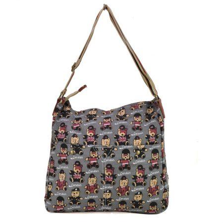 Grey - Lovely Bear Print Canvas Bag Shoulder Bag2