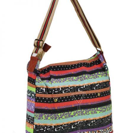 Purple - Assorted Color Stripe Canvas Bag Shoulder Bag