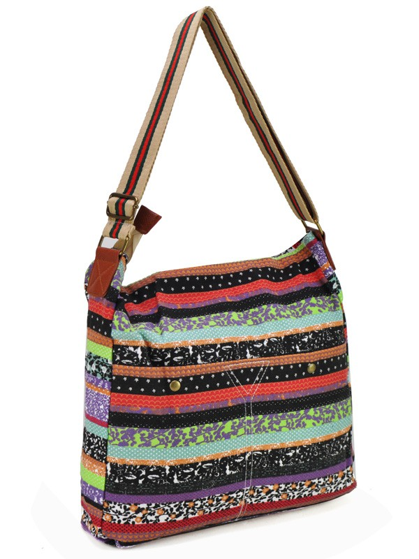 Purple - Assorted Color Stripe Canvas Bag Shoulder Bag