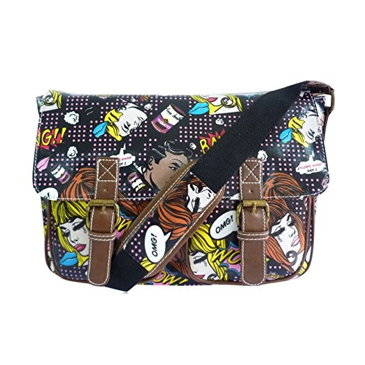Anna Smith Comic Owl Pop Art Satchel Style Messenger Shoulder Bag