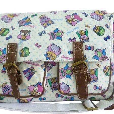 Cartoon Owl Pale Pink Anna Smith LYDC Saddle Bag Satchel Bag School Bag
